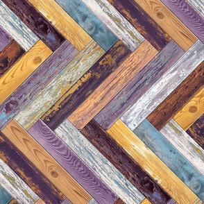Reclaimed Boat Wood Chevron Tiles Purple Yellow Blue White Rust Orange Herringbone Horizontal