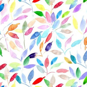 Rainbow watercolor leaves - painted leaf magic woodland