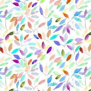 rainbow watercolor leaves - painted leaf magic woodland 328