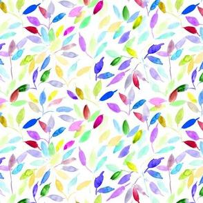 rainbow watercolor leaves - painted leaf magic woodland p328