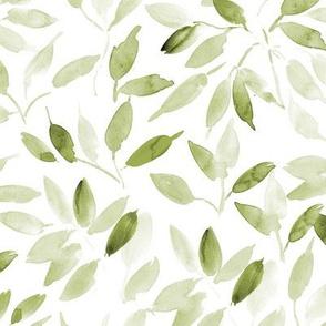 Khaki watercolor leaves - painted leaf magic woodland p328