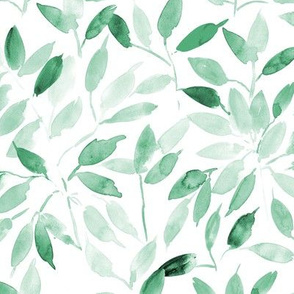 Jade green watercolor leaves - painted leaf magic woodland