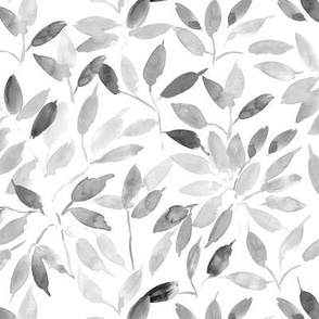 Platinum grey watercolor leaves - painted leaf magic woodland