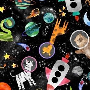 watercolor animal astronauts in space medium scale