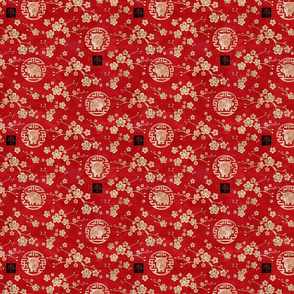 Chinese year of the ox red small scale
