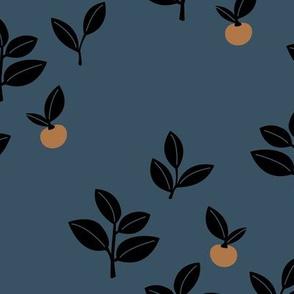 Sweet Scandinavian cherries and berries winter garden botanical fruit and leaves neutral nursery navy blue burnt orange black night