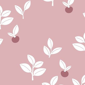 Sweet Scandinavian cherries and berries winter garden botanical fruit and leaves neutral nursery mauve pink white girls