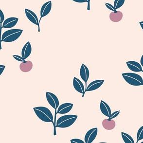 Sweet Scandinavian cherries and berries winter garden botanical fruit and leaves neutral nursery navy blue lilac purple blush