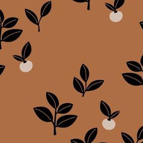 Sweet Scandinavian cherries and berries winter garden botanical fruit and leaves neutral nursery burnt orange caramel brown black
