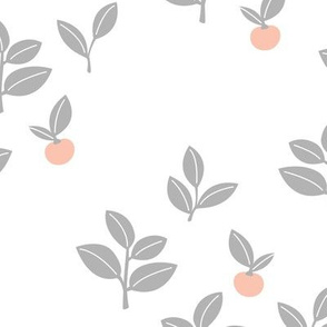 Sweet Scandinavian cherries and berries winter garden botanical fruit and leaves neutral nursery white gray orange