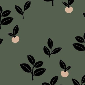 Sweet Scandinavian cherries and berries winter garden botanical fruit and leaves neutral nursery cameo green black blush