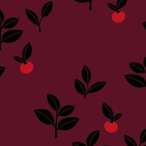 Sweet Scandinavian cherries and berries winter garden botanical fruit and leaves neutral nursery burgundy red black seasonal christmas