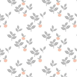 Sweet Scandinavian cherries and berries winter garden botanical fruit and leaves neutral nursery white gray orange SMALL