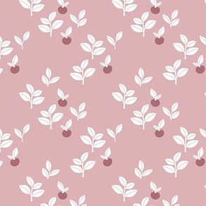Sweet Scandinavian cherries and berries winter garden botanical fruit and leaves neutral nursery mauve pink white girls SMALL