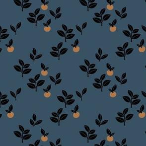 Sweet Scandinavian cherries and berries winter garden botanical fruit and leaves neutral nursery navy blue burnt orange black night SMALL