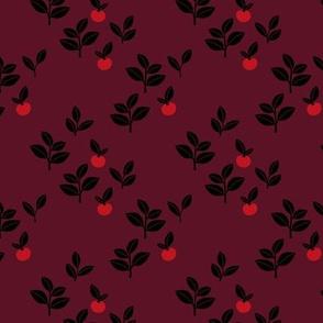 Sweet Scandinavian cherries and berries winter garden botanical fruit and leaves neutral nursery burgundy red black seasonal christmas SMALL