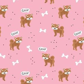Woof! Barking kawaii shiba inu puppy dog paws and bone pink burnt orange brown