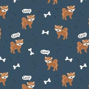 Woof! Barking kawaii shiba inu puppy dog paws and bone navy blue burnt orange brown
