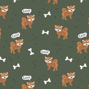 Woof! Barking kawaii shiba inu puppy dog paws and bone cameo green burnt orange brown