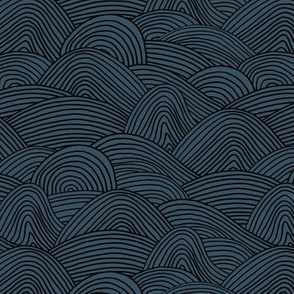 Minimalist ocean waves and surf vibes abstract salty water minimal Scandinavian style stripes navy blue black