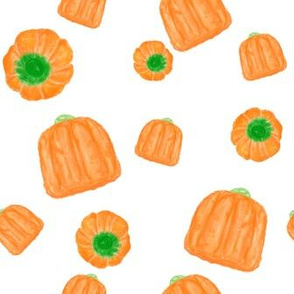 candy pumpkins on white