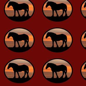 Heavy Horses Silhouette Black & Wine