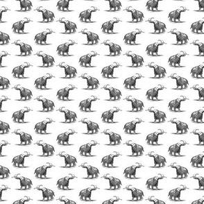 Woolly Mammoth in Black & White (Mini Scale)