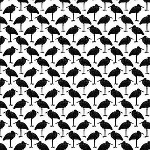 Vintage Stork Bird Silhouettes in Black & White (Mini Scale)