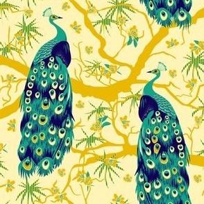 peacock yellow-turquoise