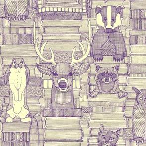 books and blankies purple cream small