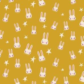 Bunnies + stars - mustard