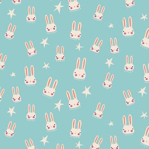 Bunnies + Stars - aqua