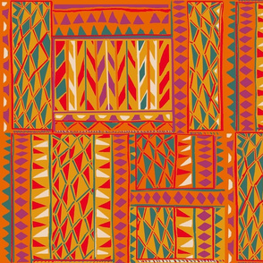Afro Caribbean Spirit-gold_red-cerulean