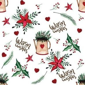 "8"" Folk Art Christmas Holiday Warm Wishes Pattern"