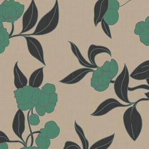 Vintage Wallpaper - Green Florals / Large