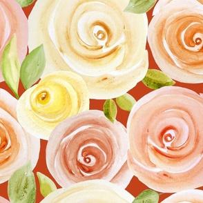 autumn roses orange field