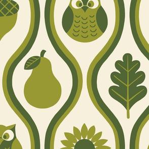 Retro Fall Owl - Olive - Large