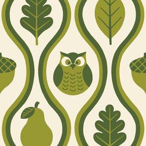Retro Fall Owl - Olive