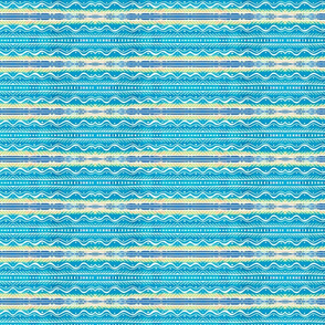 Art Deco strips in blues, turquoise and beige