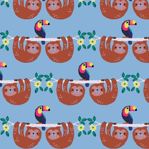 "Sloths and Toucans ""Seamless Pattern Small Scale"