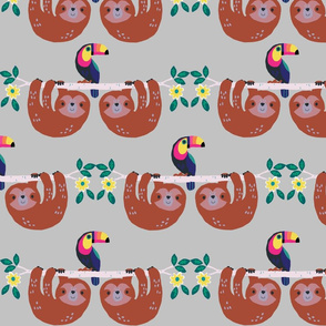 Sloths and Toucans Pattern grey small scale