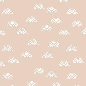Minimalist Sunset Rainbow boho style scandinavian sun nursery design beige sand white