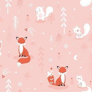 Woodland christmas pink