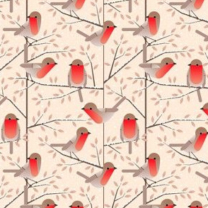 robins in winter - small
