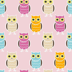 Tiny Owls on Pink