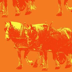Heavy Horses Toile Kumquat