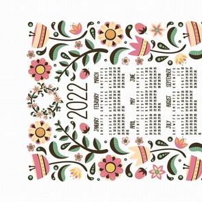 2021 Midsummer Festival Floral Tea Towel Calendar (White)