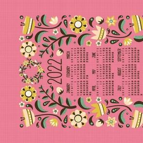 2021 Midsummer Festival Floral Tea Towel Calendar (Rose)