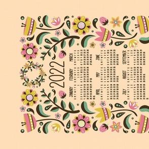 2021 Midsummer Festival Floral Tea Towel Calendar (Peach)