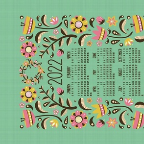 2021 Midsummer Festival Floral Tea Towel Calendar (Mint)